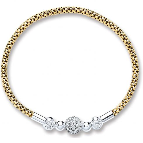 Silver Bracelet Gold Plated Mesh With Crystal Ball