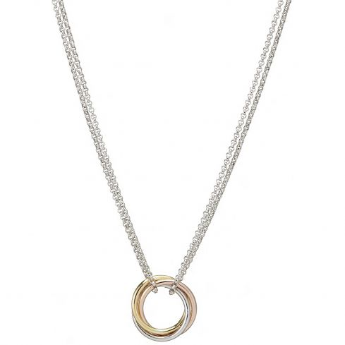 Silver, Rose & Yellow coated Circle Necklace 17