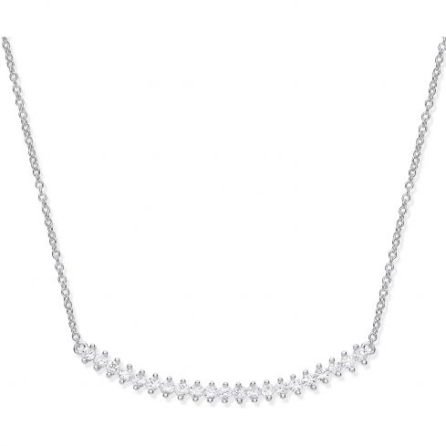 Silver Chic Curved Bar CZ Necklace