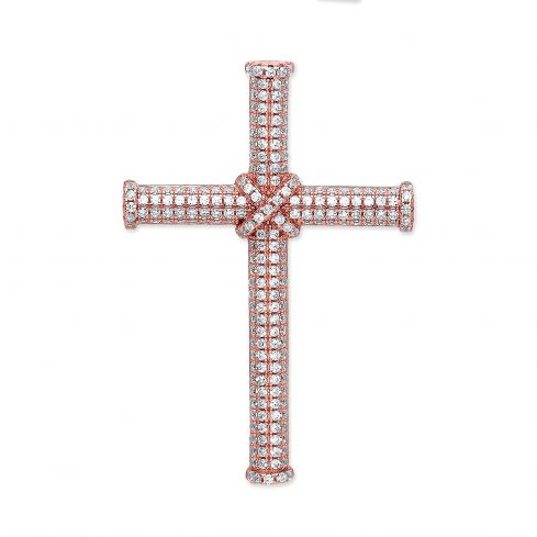 Silver Rose Coated Micro' Pave Cz Cross