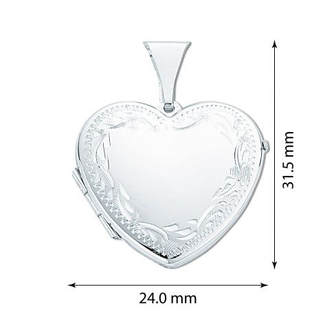 Silver Large Engraved Heart Shaped Locket Silver