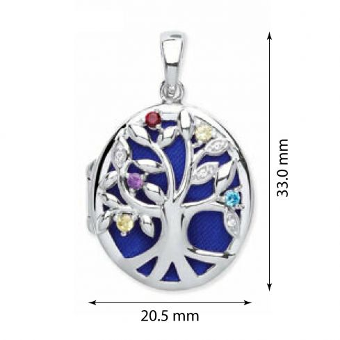 Silver Oval Shape Tree of Life Locket with Multi Colour Cz's Cubic Zirconia Silver