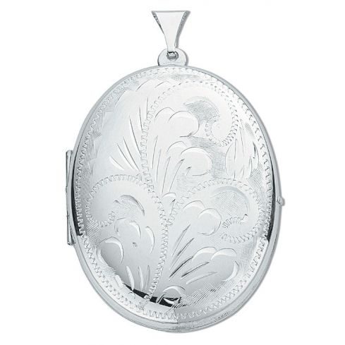 Silver Large Engraved Oval Shaped Locket Silver