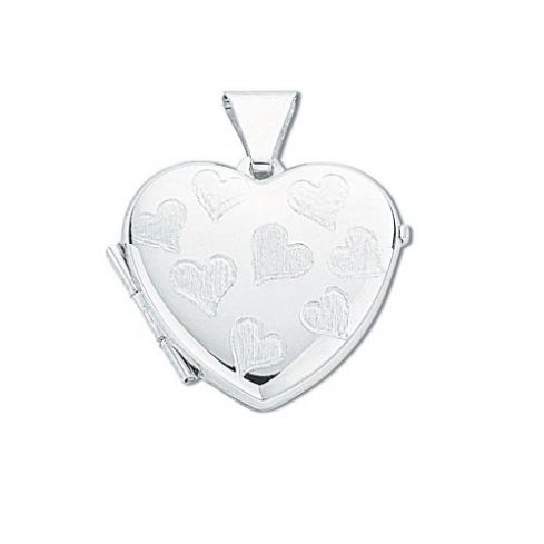 Silver Small Engraved Heart Shaped Locket Silver