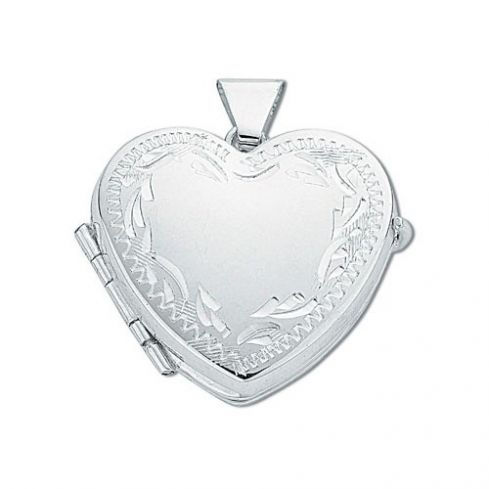 Silver Engraved Heart Shaped Family Locket Silver