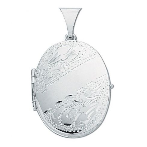 Silver Engraved Oval Shaped Family Locket Silver