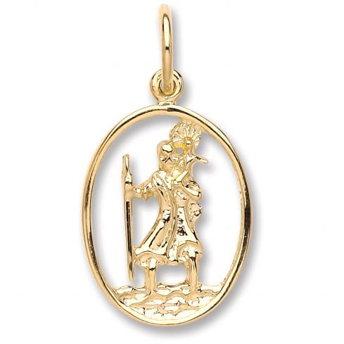 9ct Yellow gold Oval Cut Out St Christopher Pendant