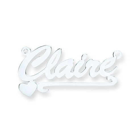 Silver Script Heart Scroll Name Necklace