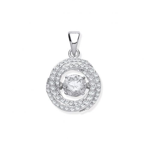 Silver Cz Swirl Pendant with Hanging Shimering Cz