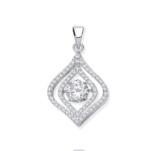 Silver Cz Pendant with Hanging Shimering Clear Cz