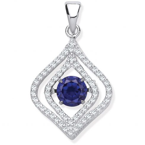 Silver Cz Pendant with Hanging Shimmering Blue Cz