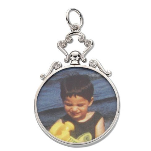 Silver Scroll Top Round Picture Frame Pendant