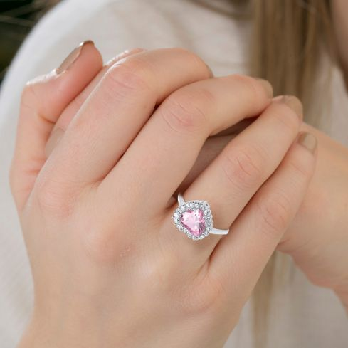Silver Pink Cz Heart Cluster Ring Cubic Zirconia Silver