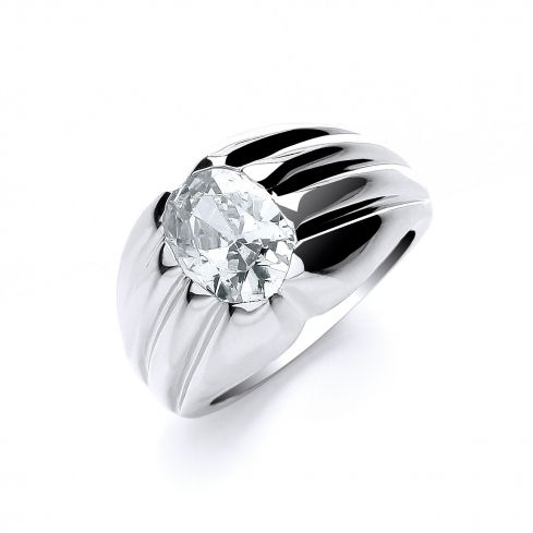 Silver Cz Single Stone Gents Ring