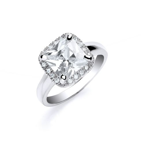 Silver Ascher Cut with Cz Surrounding Ring