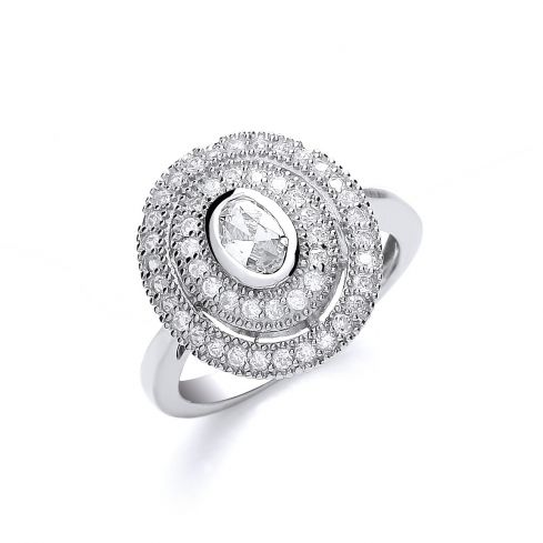 Silver Oval Centre with Multi-layered Cz's Ring