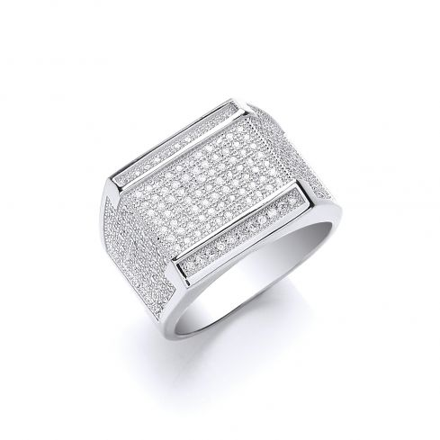 Silver Micro Pave' Cz Gents Ring