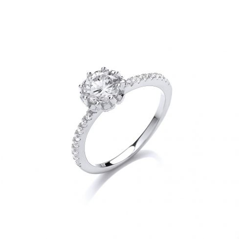Silver Solitaire Cz  Ring