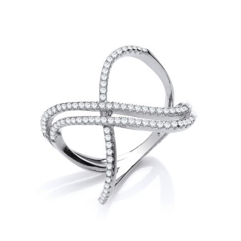 Silver Open Crossover Cz Ring