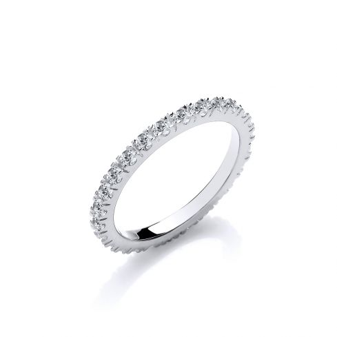 Silver Round Cz Full ET Single Row Ring