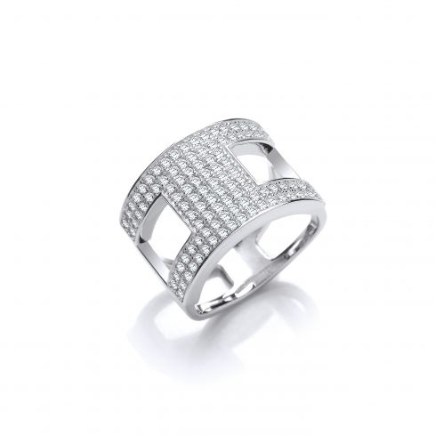Silver New Fashion Open Cz Ring