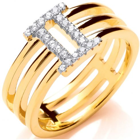 Gold Plated Silver CZ Three Band Ring