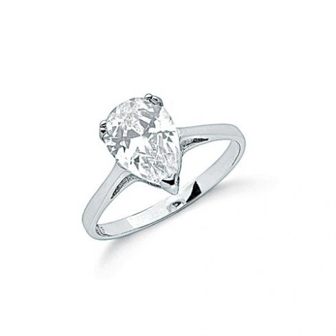 Silver Claw Set Pear Cut Cz Solitaire Ring