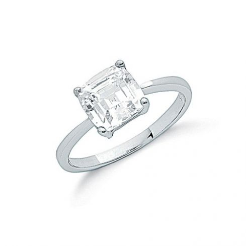 Silver Claw Set Princess Cut Cz Solitaire Ring