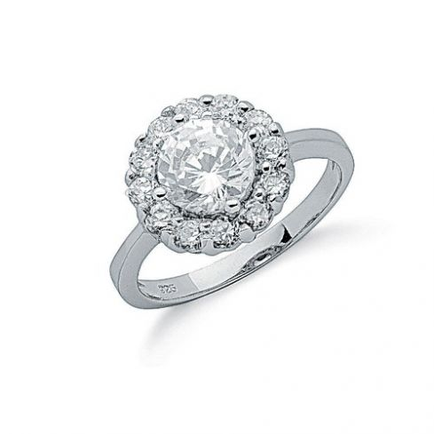 Silver Claw Set Cz Cluster Ring